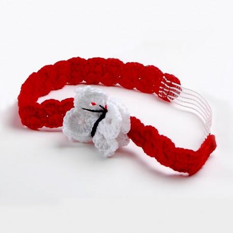 Turbante para bebé - Turbante rojo con detalle de mariposa en blanco