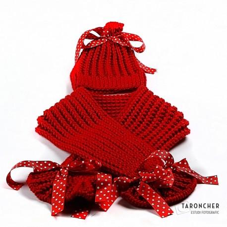 Conjunto gorro + bufanda rojo